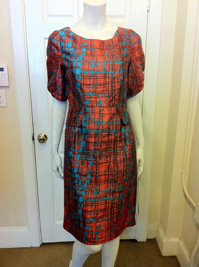 Oscar de la Renta Orange and Turquoise Dress 2