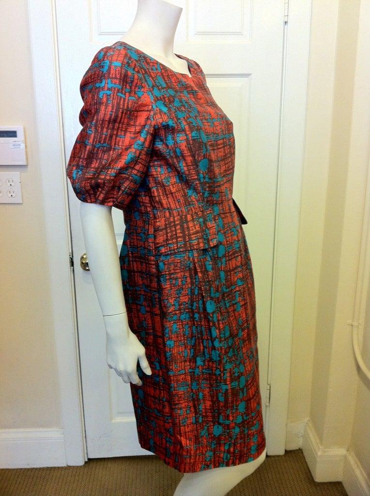 Oscar de la Renta Orange and Turquoise Dress 3