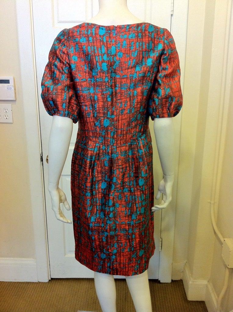 Oscar de la Renta Orange and Turquoise Dress 4