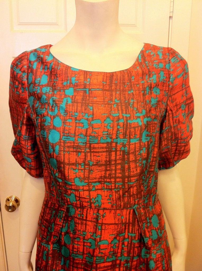 Oscar de la Renta Orange and Turquoise Dress 6