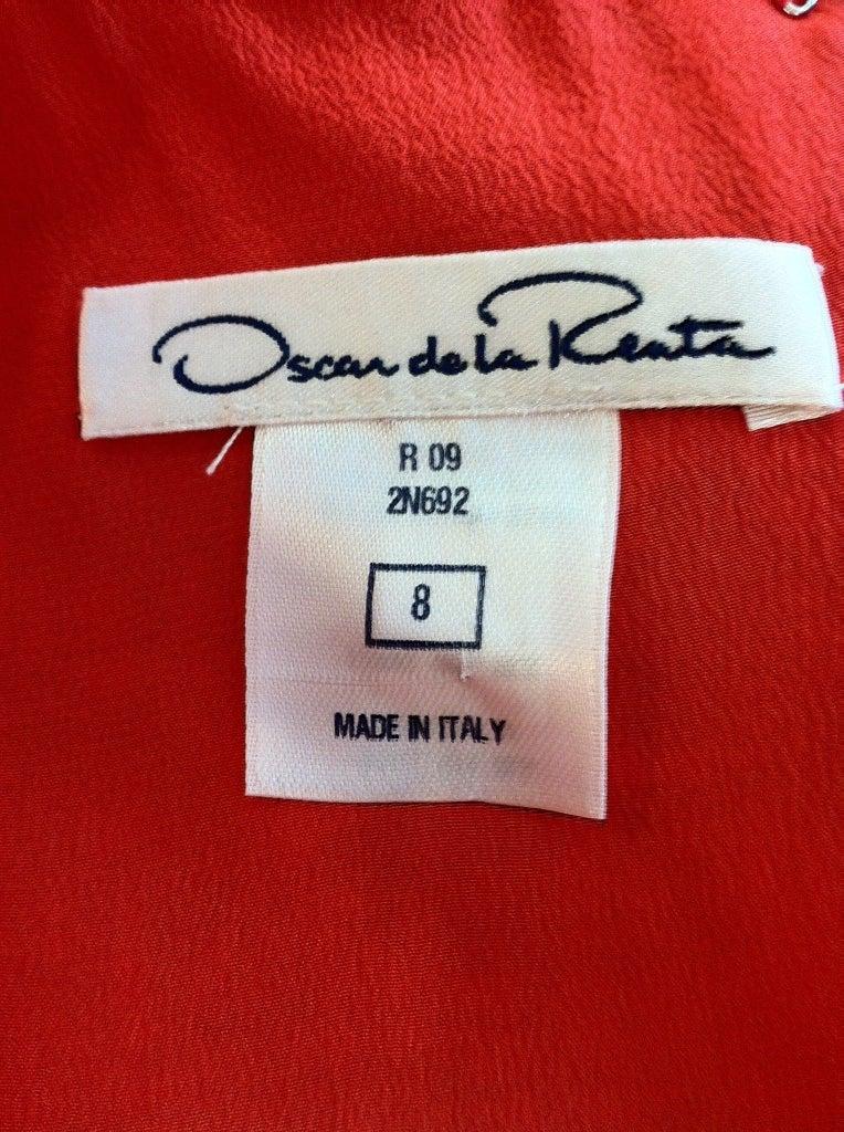 Oscar de la Renta Orange and Turquoise Dress 7