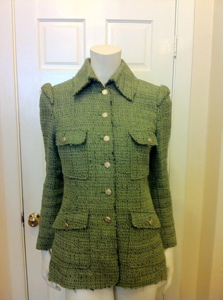 Chanel Green Tweed Jacket