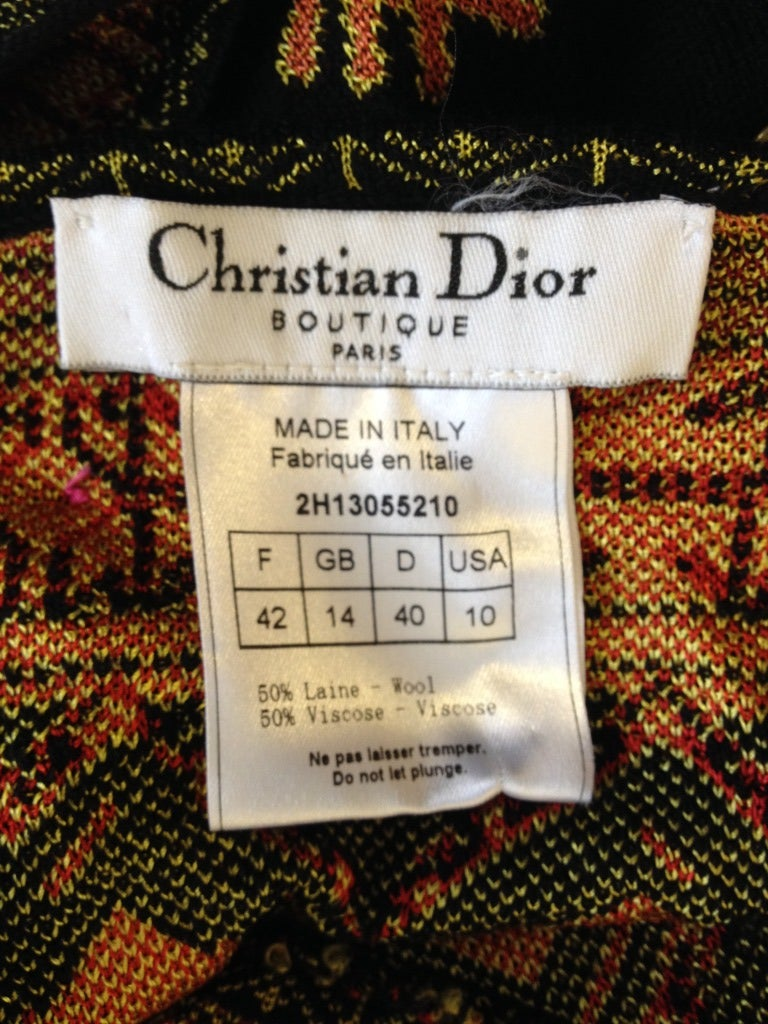 Christian Dior Knit Black Top With Colorful Design 6