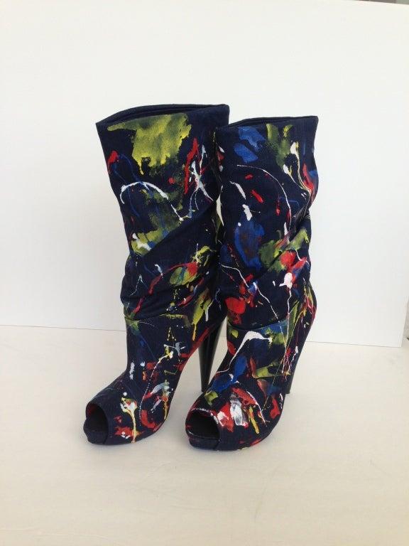 Alexander Mc Queen Color Splashes Jean Booties 6