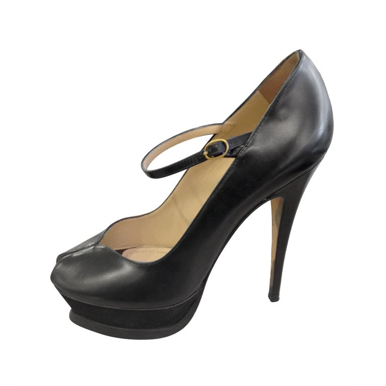 ysl black platform heels at 1stdibs