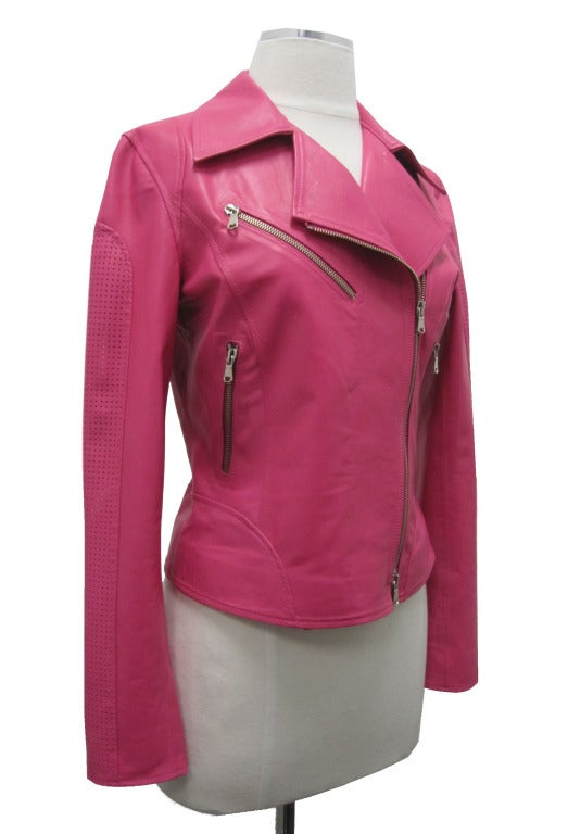 Hot pink leather jacket