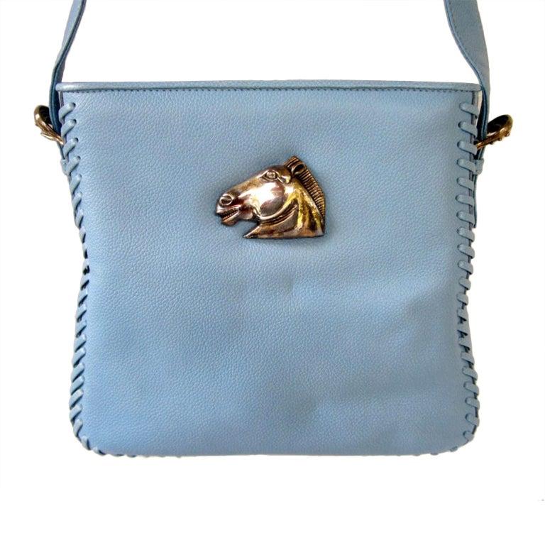 Barry Kieselstein-Cord STUNNING Blue Leather Horse Handbag Purse 1990's New