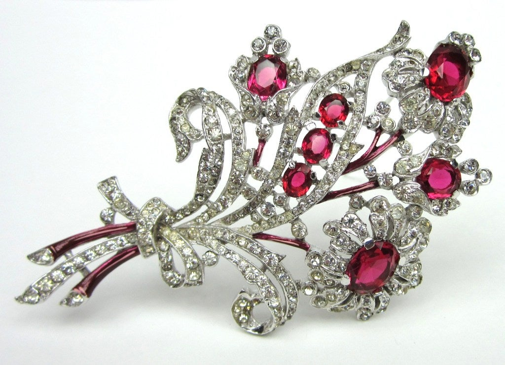 Crown Trifari Brooch 'Alfred Philippe' Ruby Quintuple Floral coat Pin Brooch  2