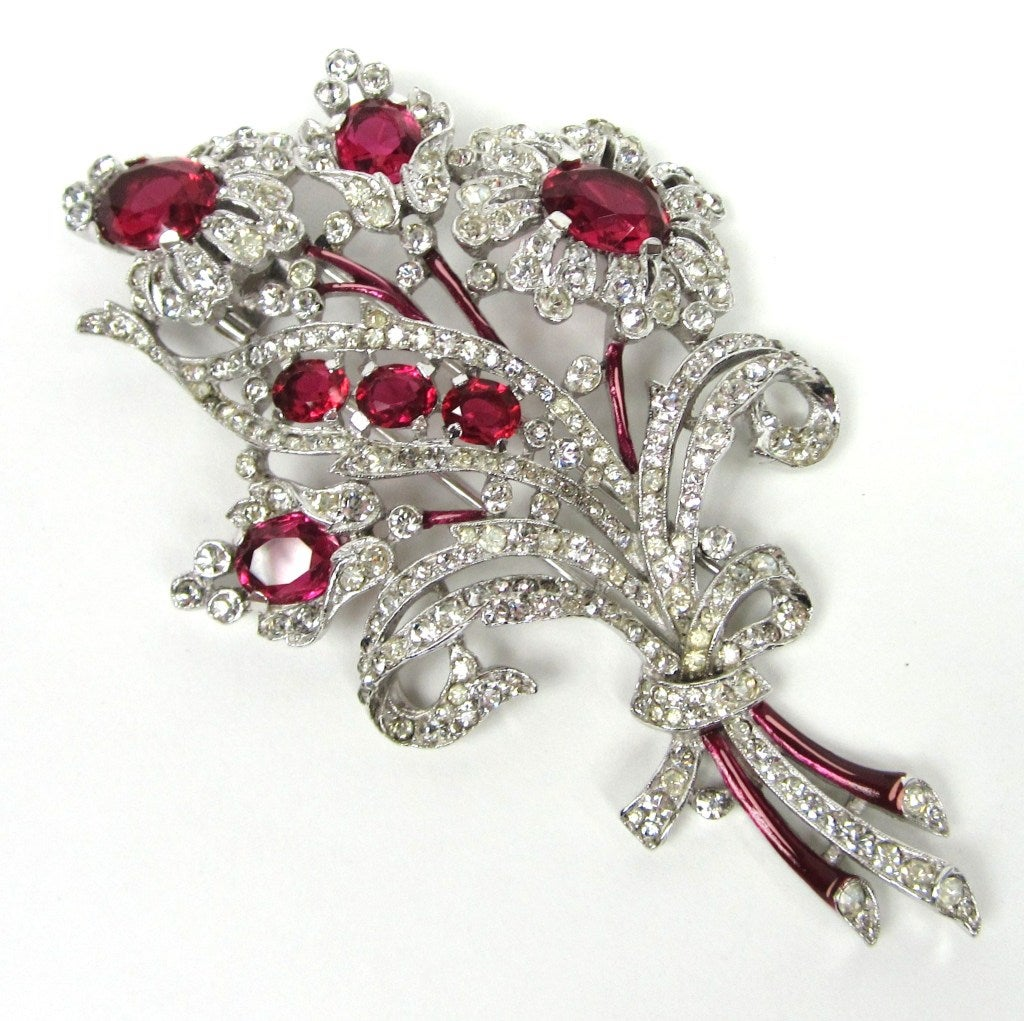 Crown Trifari Brooch 'Alfred Philippe' Ruby Quintuple Floral coat Pin Brooch  3