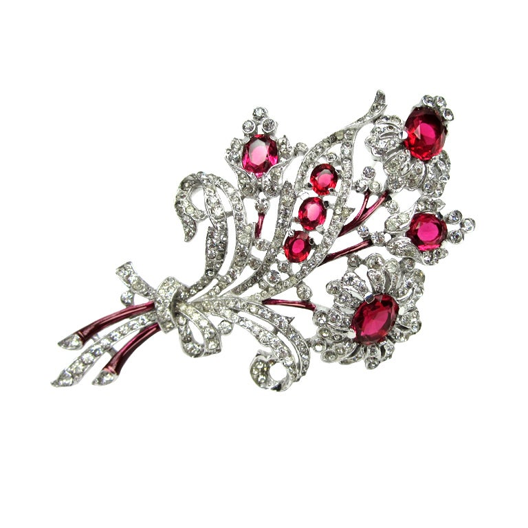Crown Trifari Brooch 'Alfred Philippe' Ruby Quintuple Floral coat Pin Brooch  1