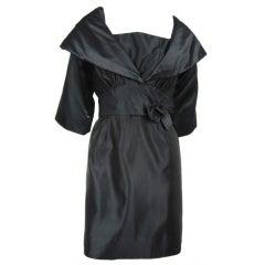 Vintage Little Black Taffeta 1960s Dress & Jacket