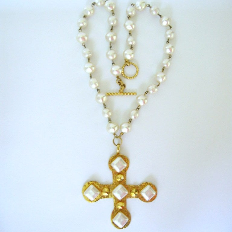 Dominique Aurientis Pearl Studded Maltese Cross Necklace 1980's New Never worn  2