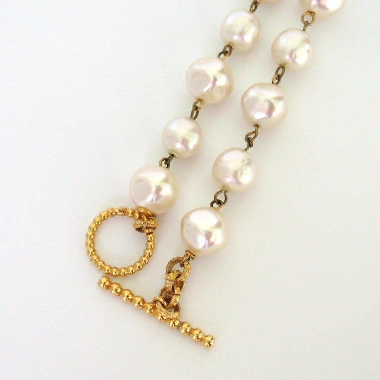 Dominique Aurientis Pearl Studded Maltese Cross Necklace 1980's New Never worn  5
