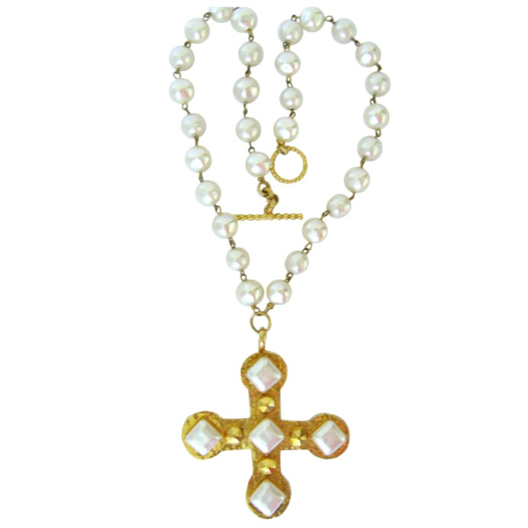 Dominique Aurientis Pearl Studded Maltese Cross Necklace 1980's New Never worn  1