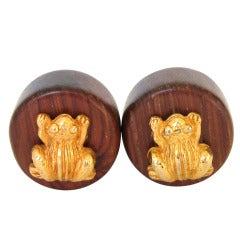 Vintage 1980s Dominique Aurientis Wood and Gold Earrings