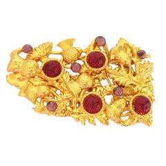 Dominique Aurientis Poured gripoix Glass Large Gold Pin Brooch
