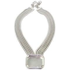 1990s Daniel Swarovski Crystal Runway Silver Snake Chain Necklace