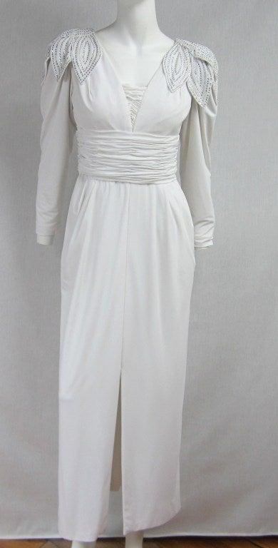 Vintage 1980's Lilli Rubin Avant Garde White Jersey Gown 2