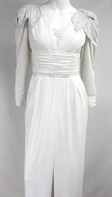 Vintage 1980's Lilli Rubin Avant Garde White Jersey Gown 3