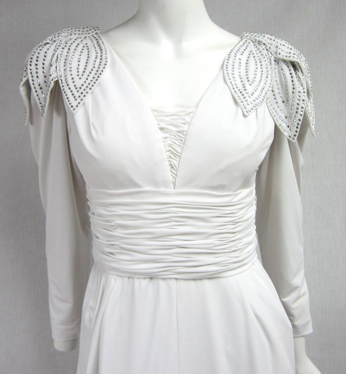 Vintage 1980's Lilli Rubin Avant Garde White Jersey Gown 4