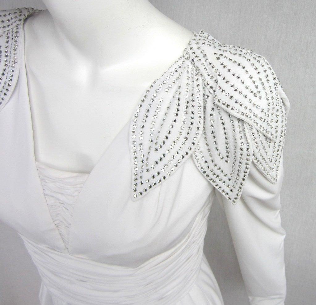 Vintage 1980's Lilli Rubin Avant Garde White Jersey Gown 5