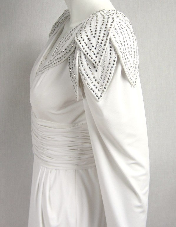 Vintage 1980's Lilli Rubin Avant Garde White Jersey Gown 7