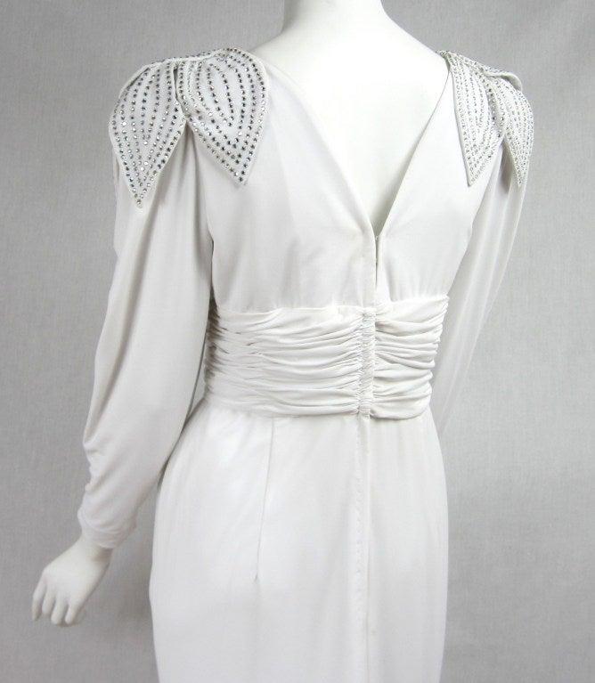 Vintage 1980's Lilli Rubin Avant Garde White Jersey Gown 8