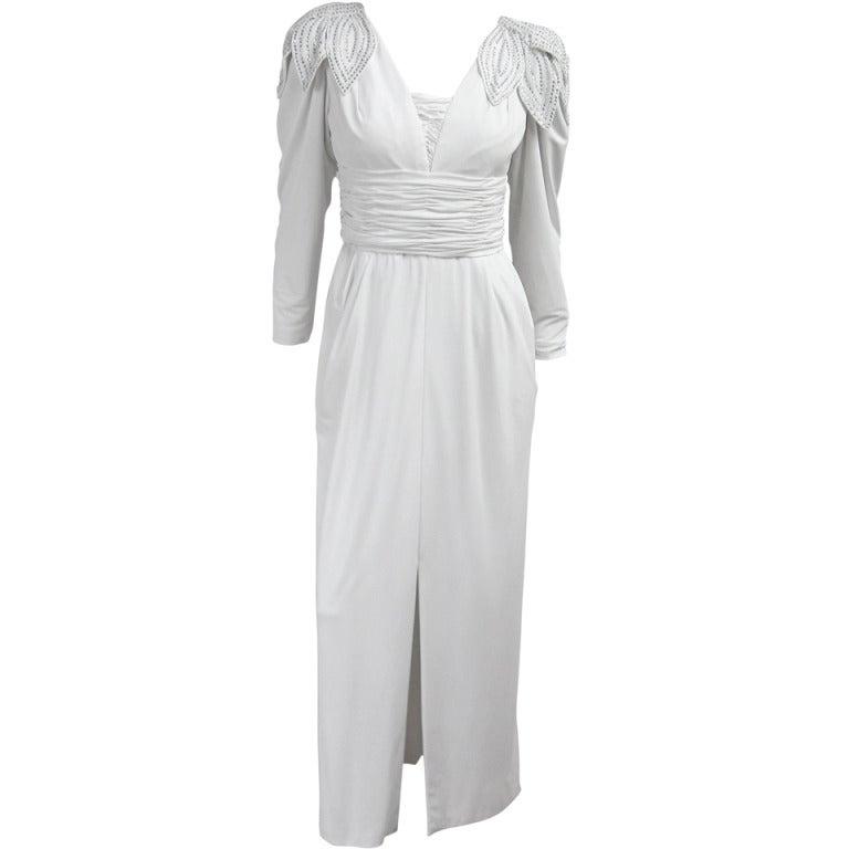 Vintage 1980's Lilli Rubin Avant Garde White Jersey Gown 1