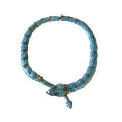 Margot De Taxco Enamel Sterling Silver Snake Necklace