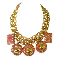 1980s Chunky Escada Charm Bib necklace Never Worn