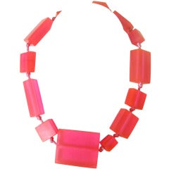 1980s Neon Pink Ugo Correani Block Necklace New Never worn