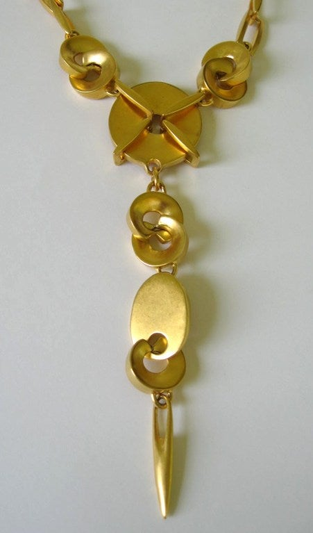1980s Robert Lee Morris Chain link Disc Necklace 2