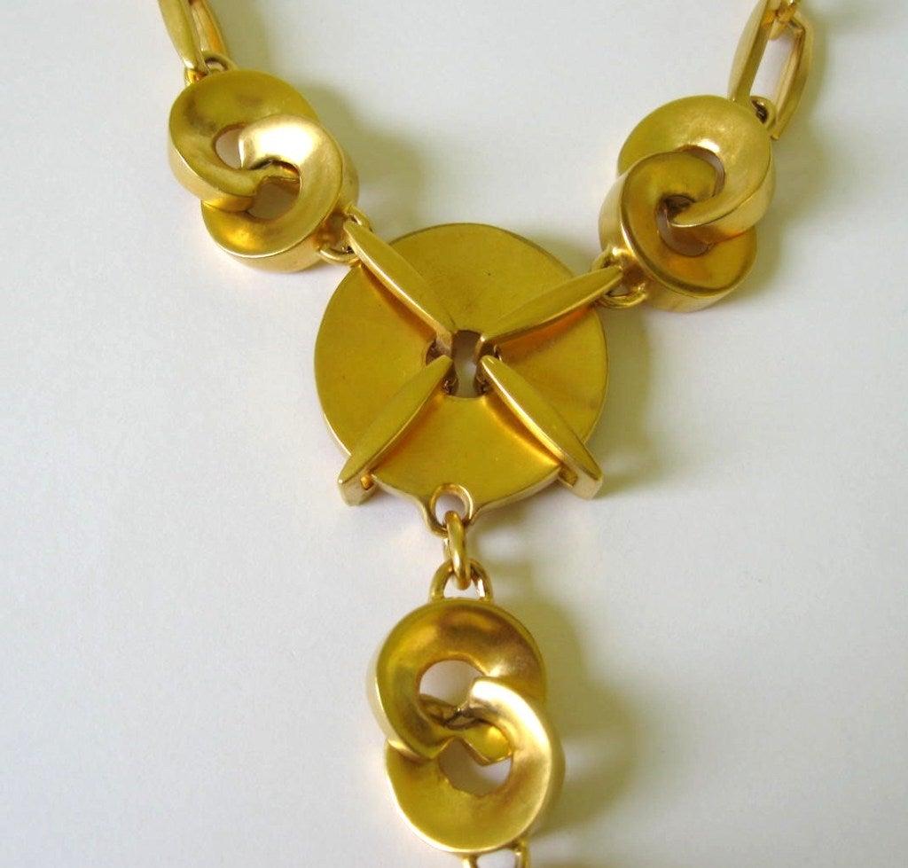 1980s Robert Lee Morris Chain link Disc Necklace 4