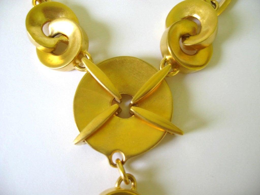 1980s Robert Lee Morris Chain link Disc Necklace 5