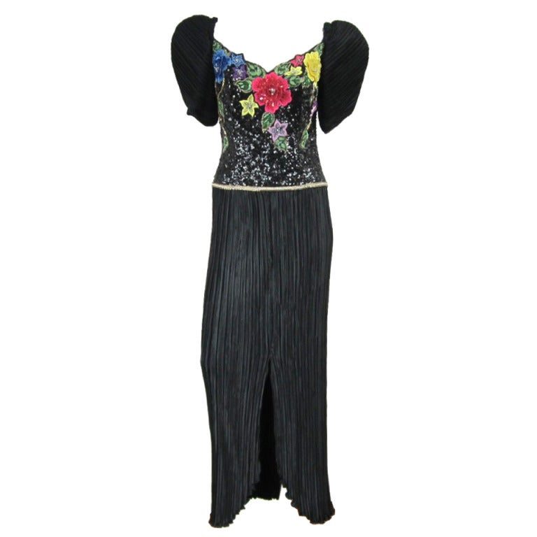 Richilene 1990s Black Floral Sequined Sculptured Gown