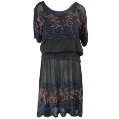 Antique 1920s Silk Black Multi Colored Beaded Flapper Dress