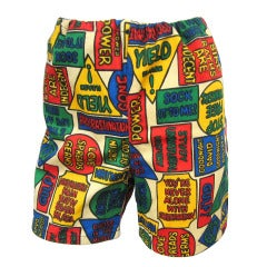 Vintage 1960s POP ART Unisex Boy Shorts Stunning Graphics