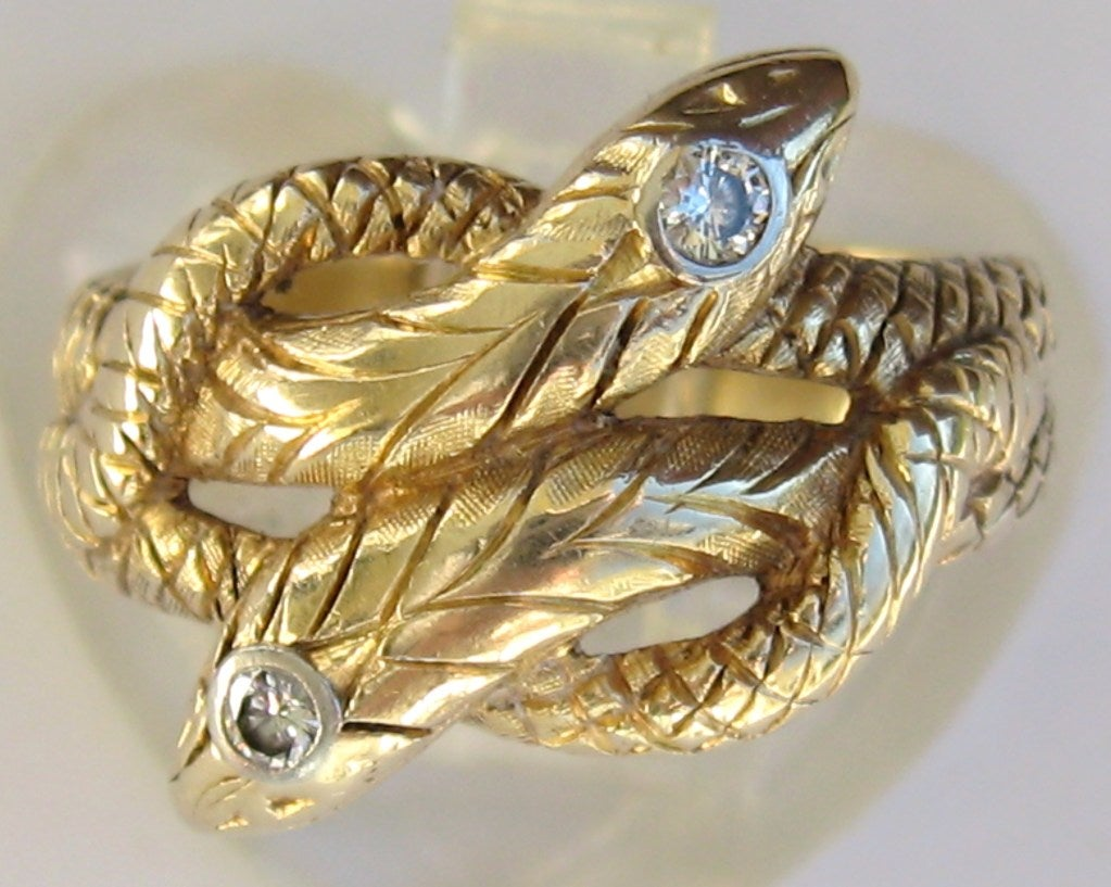 Gold Double Headed Snake Ring At 1stdibs
