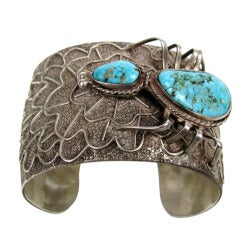 Southwestern Turquoise Sterling Silver Navajo Spider Cuff Bracelet