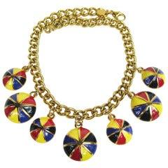 1980s Escada Jockey Cap Charm Necklace Never Worn