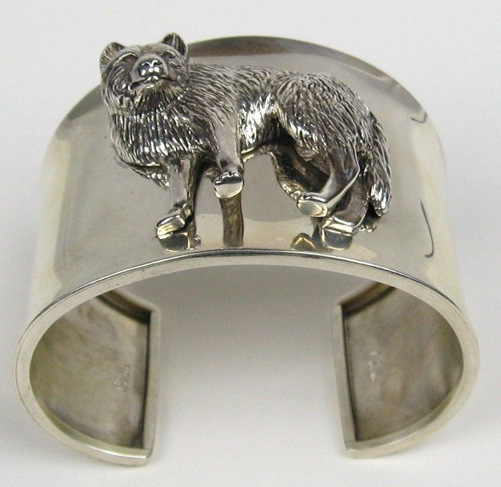 1990s Sterling Silver Carol Felley 3-D WOLF wide Cuff Bracelet Never worn  3