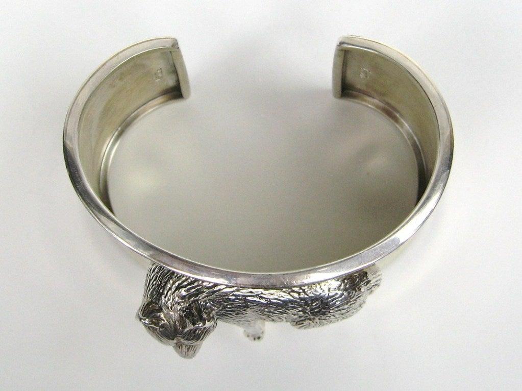 1990s Sterling Silver Carol Felley 3-D WOLF wide Cuff Bracelet Never worn  4