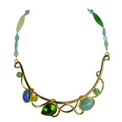 1990s Philippe Ferrandis Gripoix Glass and Stone Choker Necklace New Never worn