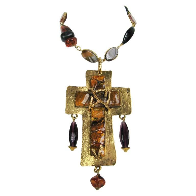 1980s Philippe Ferrandis brutalist Gold Gripoix CROSS  Necklace New Never Worn