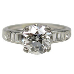1.60 Carat Platinum European Cut Diamond Ring