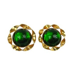 Stunning Philippe ferrandis Glass Cabochons Earrings  1990s Made in France
