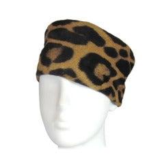 1960s Leopard print  Pillbox Hat