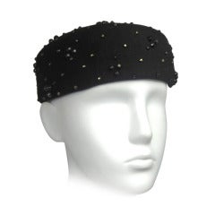Vintage Black Beaded  Adolfo Pillbox Wool Hat 1960s