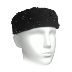 Black Beaded  Adolfo Pillbox Wool Hat 1960s Vintage