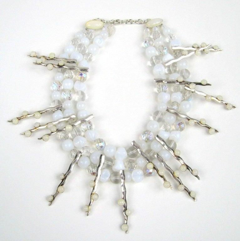 1990s Philippe Ferrandis Glass Choker Bib Necklace New Never worn  2